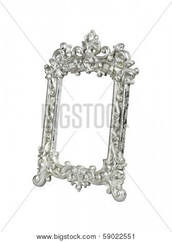 Silver vintage picture frame isolated on white.