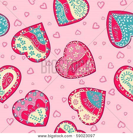 Seamless Pink wallpapers hearts.