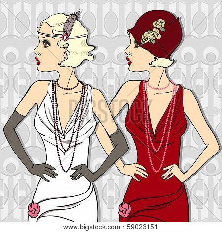 The Vector Vintage Beautiful Fashionable Girls.