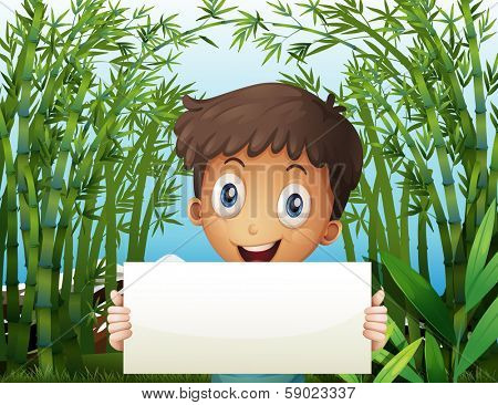 Illustration of a boy at the bamboo farm holding an empty signage