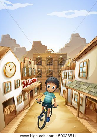 Illustration of a boy biking in the middle of the saloon bars