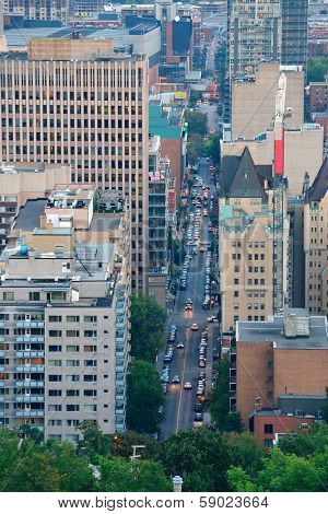 MONTREAL, CANADA - SEP 8: City street aerial view on September 8, 2012 in Montreal, Canada. It is the largest city in Quebec, the second-largest in Canada and the 15th-largest in North America.