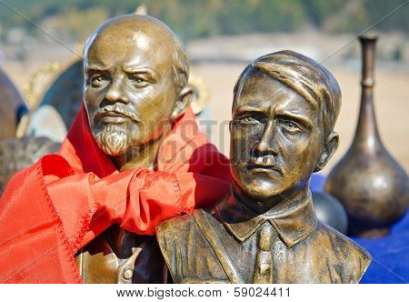 ULAN-UDE, RUSSIA - NOV 24, 2012: Flea Market, bronze busts of Adolf Hitler and Vladimir Lenin in November 24, 2012 in Ulan-Ude, Russia. The volume of Russian antiques market - $ 700 million per year.