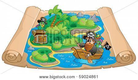 Treasure map topic image 1 - eps10 vector illustration.