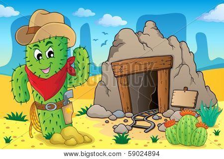 Desert with old mine theme 6 - eps10 vector illustration.