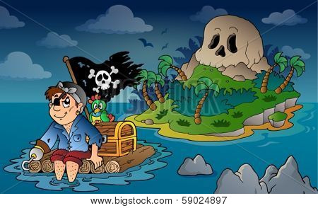 Theme with pirate skull island 5 - eps10 vector illustration.