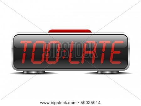 detailed illustration of a digital alarm clock with term