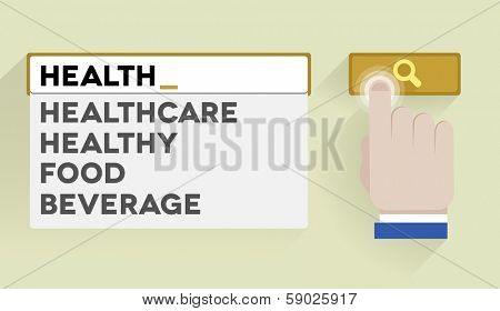 minimalistic illustration of a search bar with health keyword and associations, eps10 vector