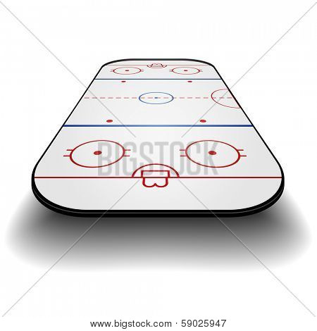 detailed illustration of an icehockey court with frontal perspective, eps10 vector