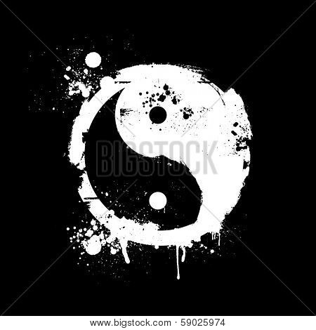 detailed illustration of a grungy yin yang symbol, eps10 vector