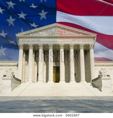 US Supreme Court With Flag