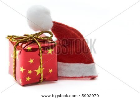 Santa hat and gift box