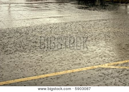 Pouring Rain On Street