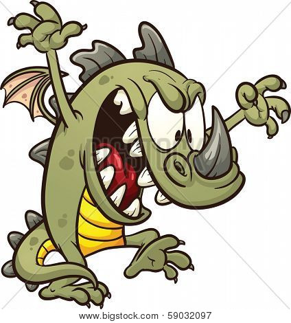 Cute cartoon dragon wreaking havoc. Vector clip art illustration with simple gradients. All in a single layer.