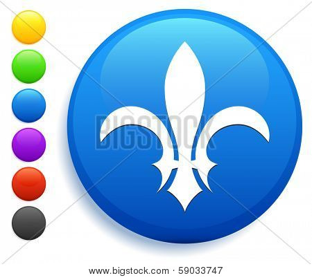Fleur De Lis Icon on Round Button Collection