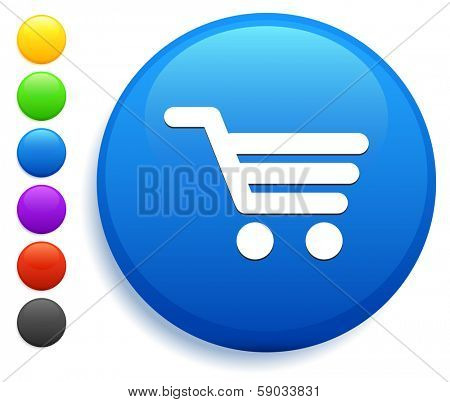 Shopping Cart Icon on Round Button Collection