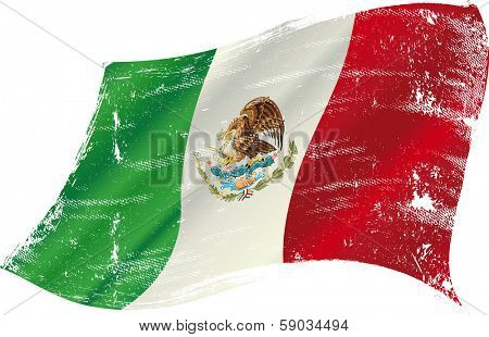 Mexican flag with a texture in the win