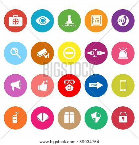Security Flat Icons On White Background