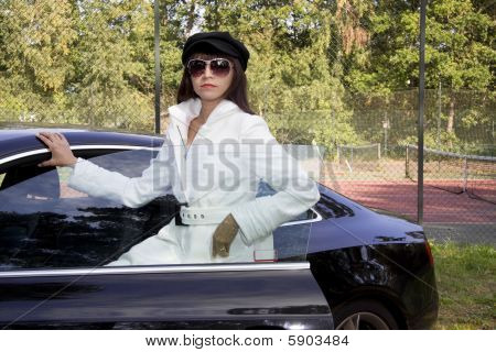 Fashion Model And Car