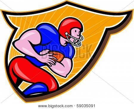 American Football Running Back Rushing Shield Cartoon