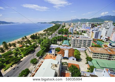 Beach Scene, Tropics, Pacific Ocean City View, Natrang Vietnam
