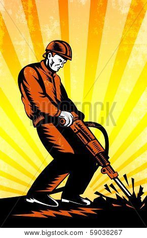 Construction Worker Jackhammer Retro Poster