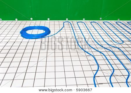 Under Floor Heating System In A Bathroom