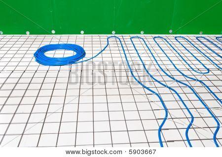 Under Floor Heating System In A Bathroom