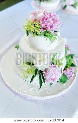 Wedding Cake with Flower Decoration