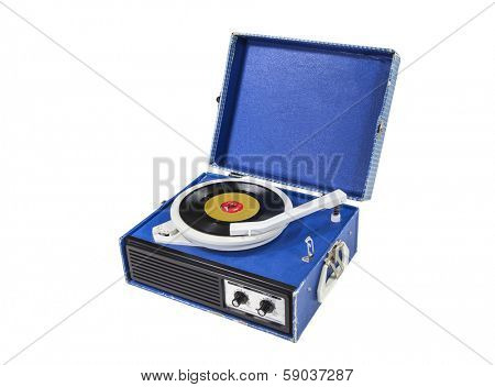 Retro funky record player isolated with clipping path.