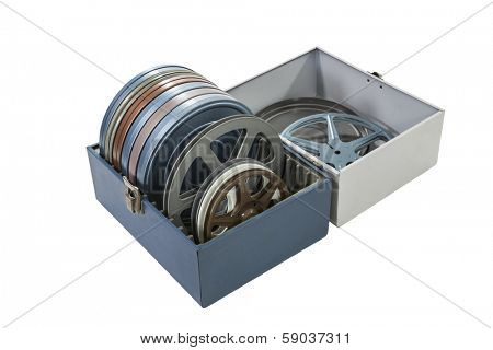 Case of vintage film cans and reels isolated with clipping path.