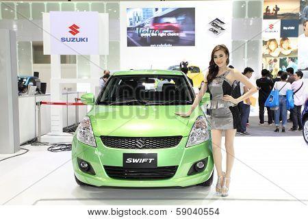 Nonthaburi - November 28: Suzuki Swift Car With Unidentified Model On Display At The 30Th Thailand I