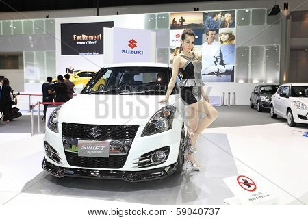 Nonthaburi - November 28: Suzuki Swift Sport Car With Unidentified Model On Display At The 30Th Thai