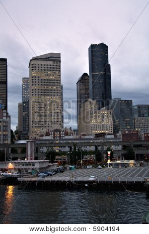 Seattle Skyline And Ferry Dock Img_6996