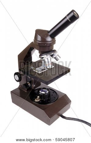 old used microscope isolated on white
