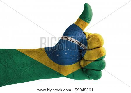 Thumbs up, wrapped in the flag of the Brazil