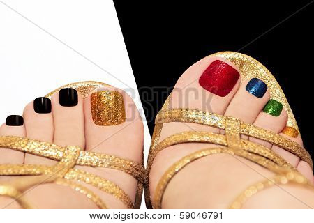 Multicolored shining pedicure.