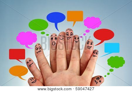 Social network family concept finger people in discussion with speech bubbles