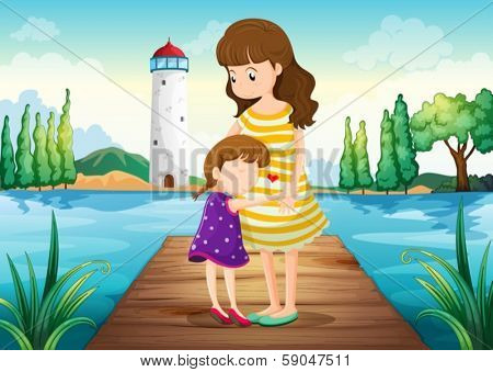 Illustration of a young girl hugging her mother at the bridge