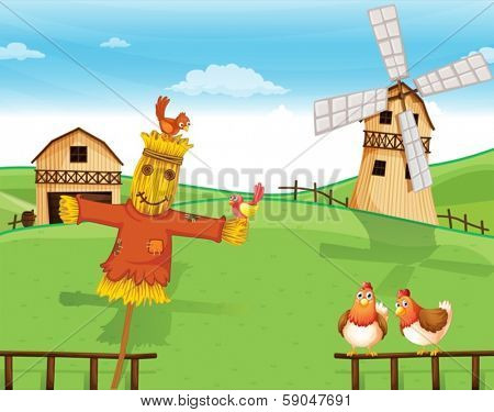 Illustration of a farm with a scarecrow