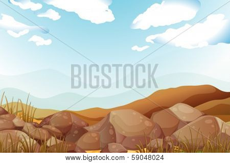 Illustration of the big brown rocks under the blue sky