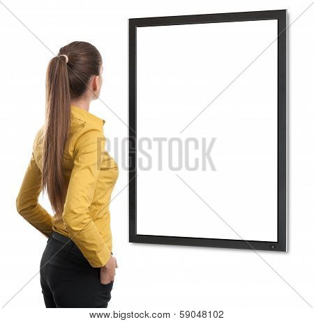 Business Woman From The Back Looking At Tv