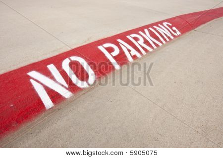 No Parking Warning On Street Curb