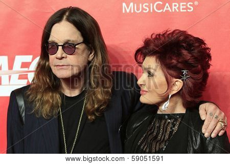 LOS ANGELES - JAN 24: Ozzy Osbourne, Sharon Osbourne at the 2014 MusiCares Person Of The Year event at the Convention Center on January 24, 2014 in Los Angeles, CA