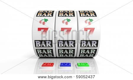 Slot fruit machine display with jackpot isolated on white