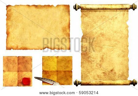 Collection scrolls of old parchment. Objects isolated over white background