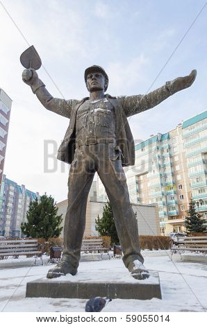 Krasnoyarsk, RU - Nov.09, 2012: Builder Monument  in Nov. 09, 2012 in Krasnoyarsk, RU