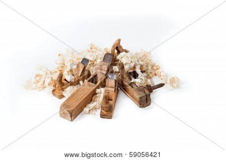 Planers With Wooden Chips, Wood Shavings