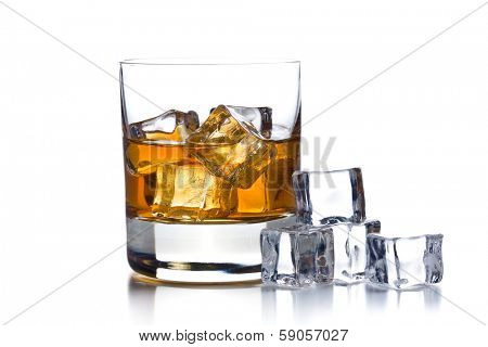 whiskey with ice in glass on white background