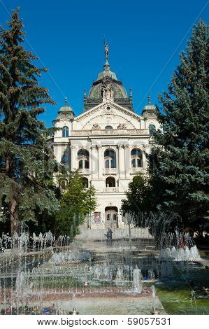 Building of National Theatre in slovakian city Kosice with fountains in front of it